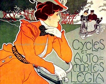 Legia Bicycles Georges Gaudy Art Nouveau 1898 Lithograph Poster Transportation Ad To Frame
