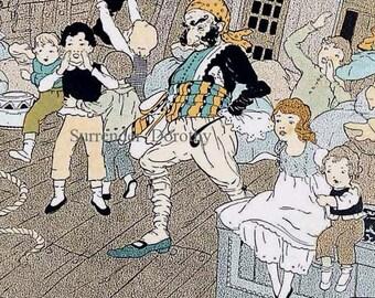 Peter Pan To The Rescue Hilda Hanway 1920s Original Vintage Art Deco Children's Print Illustration To Frame