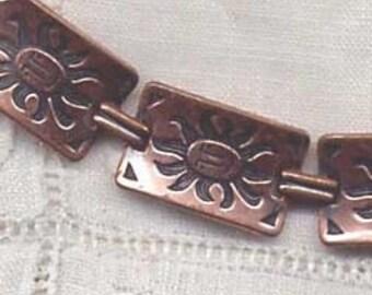 Copper Sun Face Bracelet Handmade Mexico Vintage  80s