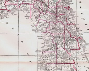 Florida Map USA State Antique Copper Engraving North American Cartography 1892 Victorian Geography Art To Frame