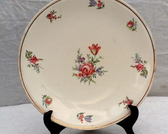 Kitchen Kraft Cake Plate Rose Tulip Homer Laughlin USA Vintage Shabby-Chic Classic Bakeware 1940s USA