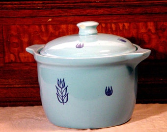Cronin Pottery Blue Tulip Bean Pot Cookie Jar With Cover 1960s USA Mid Century Kitchen Vintage Ovenware