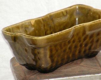 Avocado Green Box Bonsai Planter Vase 1960s Mid Century Vintage Serving Storage Organizer USA 1960s