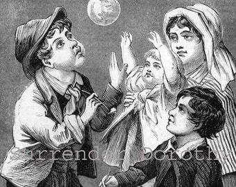 Blowing Soap Bubbles 1897 Weird Victorian Engraving For Children