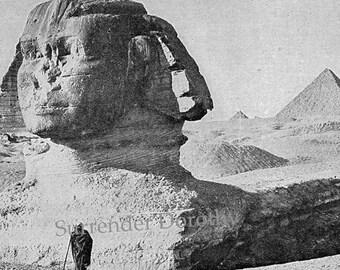 Great Sphinx of Giza Egypt Edwardian Era 1912 Photogravure Illustration For Framing