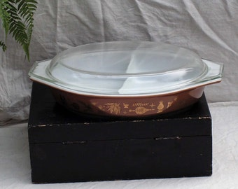 Pyrex Early Americana Divided Casserole W Cover One & Half Quart Brown GoldMilkglass 1960s Mid Century Kitchen Bake Ware
