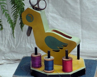 Yellow Duck Scissor Thread Caddy 1940s Vintage Wood Sewing Hand Painted Homemade