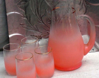 Blendo Pitcher Tumbler Set Flamingo Pink West Virginia Glass Vintage 1960s Bar or Kitchen Ware