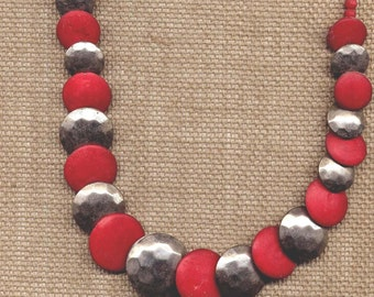 Red And Silver Flying Saucer Vintage 1970s Retro Necklace