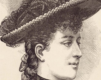 August 1890 Parisian Hat Vintage Fashions Ladies Victorian Engraved Illustration Paris France To Frame