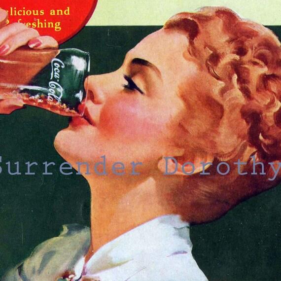 Pretty Redhead Woman Enjoys A Coke Vintage 1939 Ad Coca Cola USA Advertisement To Frame