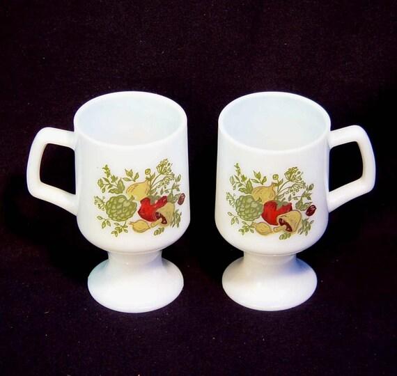 Corelle Spice of Life Irish Coffee Mugs Vintage 1970s Retro Kitchen Ware