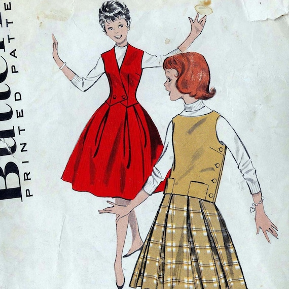 Butterick Pattern 8675 Preteen Separates Full Skirts And Tops 1960 Size 10 Classic Mid Century Fashions For Girls