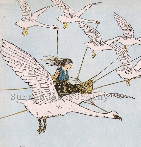Goose Girl Hugh Spencer 1927 Vintage Nursery Illustration Original Children's Art To Frame