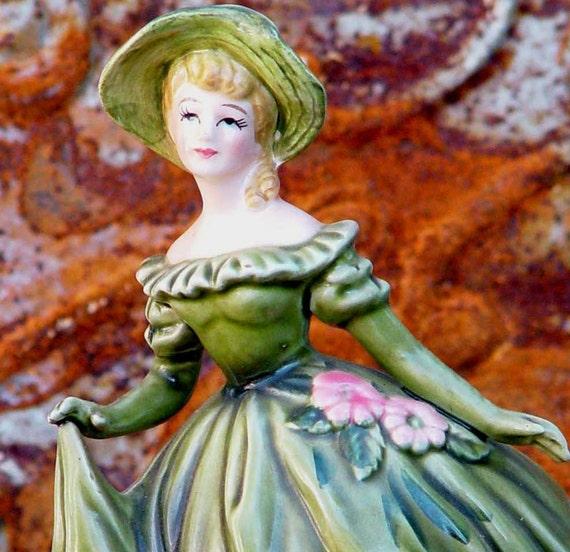 Vintage Lefton Southern Belle Lady Vase Olive Green Gown Opera Gloves Japan Classic 1960s Home Decor