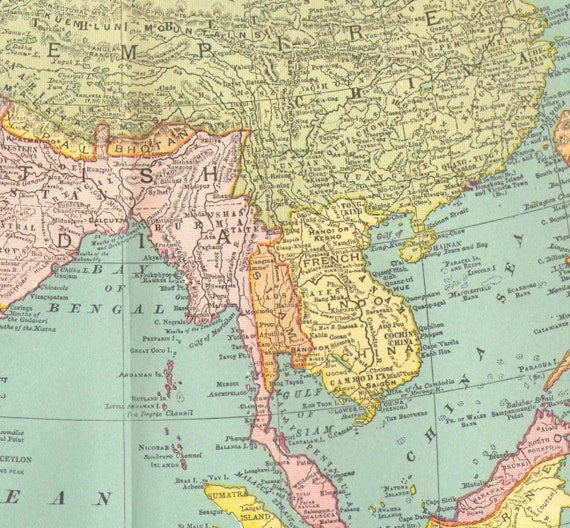 Asia Map 1895 Rand McNally Antique Victorian Cartography Vintage Geography To Frame