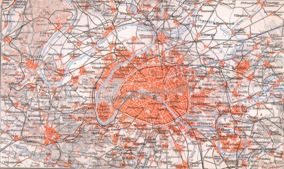 Paris France Map 1906 Edwardian Era Antique Steel Engraved European City Cartography To Frame