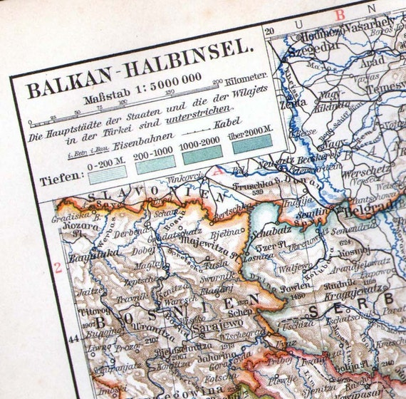 Balkan Peninsula Map 1906 Antique Edwardian Steel Engraving Vintage Cartography To Frame