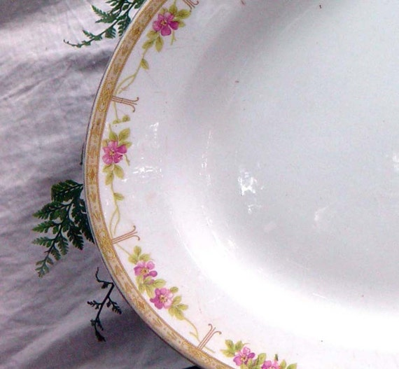 Serving Platter National China Pink Flowers Gold Edge Vintage 1920s Art Deco Huge Serving Plate