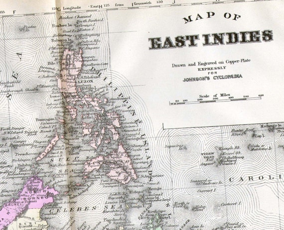 East Indies South East Asia Map 1896 Copper Engraving Vintage Cartography Antique Geography Victorian Art To Frame