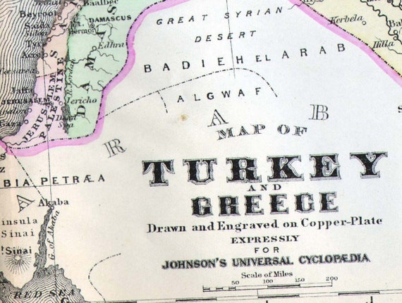 Turkey Greece Map 1895 Victorian Copper Engraving Vintage Cartography Antique Geography Chart To Frame