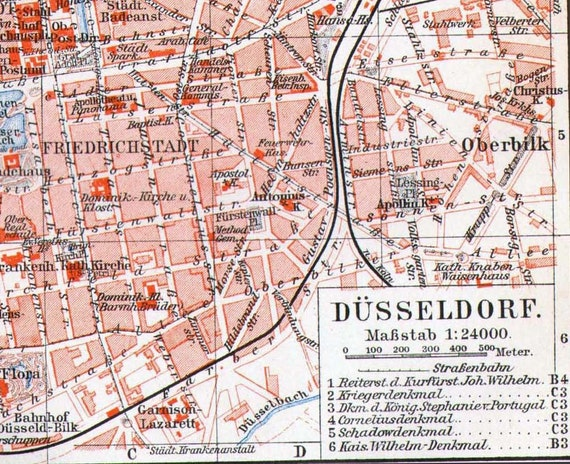 Map Dusseldorf Germany 1906 Vintage Edwardian Era Steel Engraving Cartography To Frame