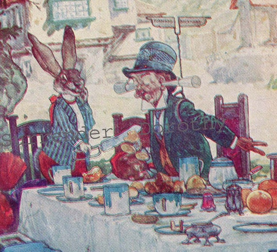 March Hare Alice In Wonderland: Alice In Wonderland Mad Hatter March Hare Teaparty Vintage