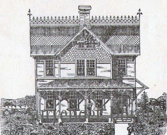 Gothic gingerbread cottage house plans vintage 1881 antique Victorian cottage plans