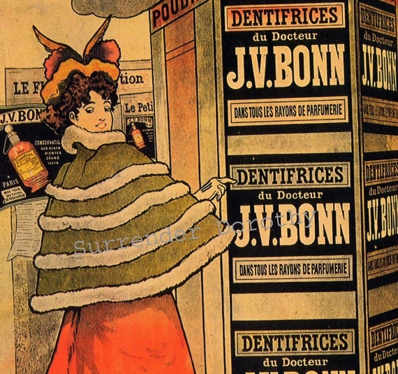 Doctor Bonn's Tooth Powder Paris France 1890s Victorian Fashion Color Lithograph To Frame