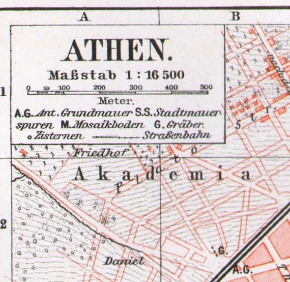 Athens Greece Map1887 Antique Steel Engraved Cartography European City Engraving Vintage Art To Frame