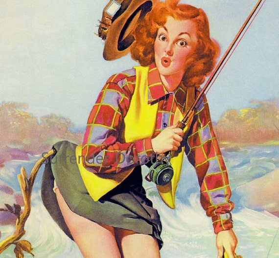 Redhead Pinup Fishing Girl Poster Print To Frame 1940s Wartime