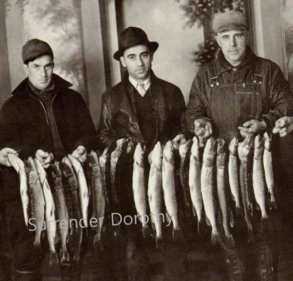 Fishermen Studio Portrait Photo Illustration 1930s Black and White Classic Print To Frame