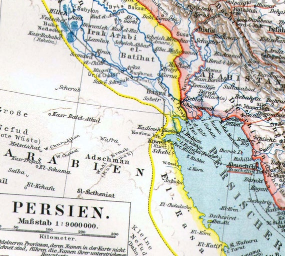 Antique Map Iran Persia Middle East 1906 Islamic Republic Iran Antique Edwardian Steel Engraving Vintage Cartography Art To Frame