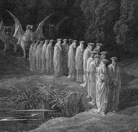 Purgatorio Canto 29 The 24 Elders In The Apocalyptic Procession Vintage Engraving by Gustave Dore'