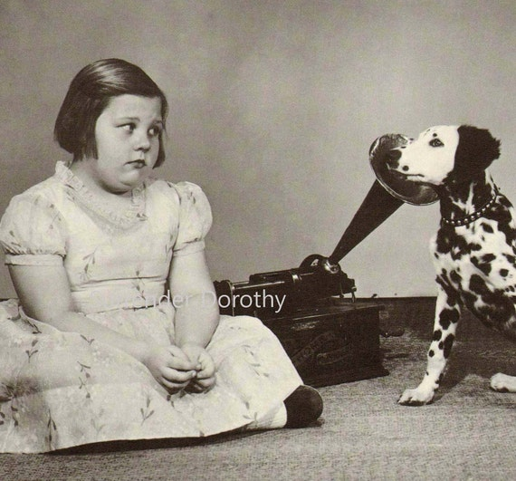 Little Girl & Gramaphone Dalmation Dog  Vintage Studio Portrait Photo Illustration 1930s Black and White Classic Print To Frame