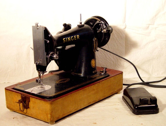Singer Model 99K Sewing Machine With Carry Case Totally Refurbished Vintage Mid Century 1950s