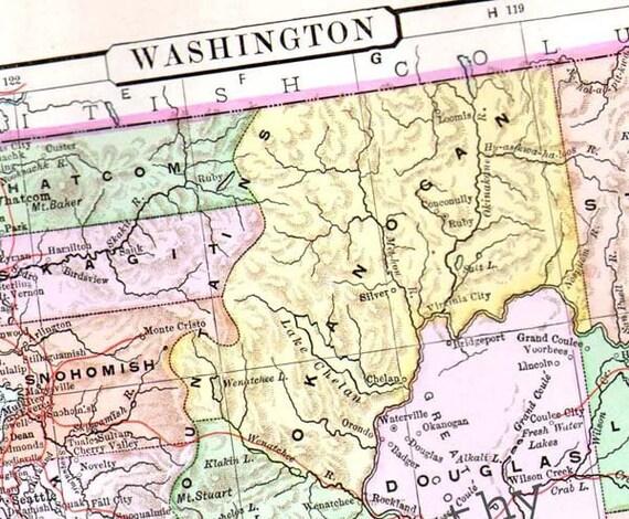 Washington (IL) United States  city pictures gallery : Washington Map USA United States 1896 Antique Victorian Copper ...