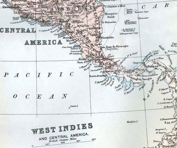 Map Cuba West Indies & Central America 1896 Antique Victorian Copper Engraving Vintage Cartography To Frame