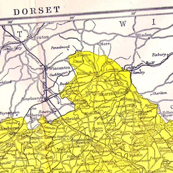 Dorset County England Map Antique Copper Engraving European Cartography 1892 Victorian Geography Art To Frame