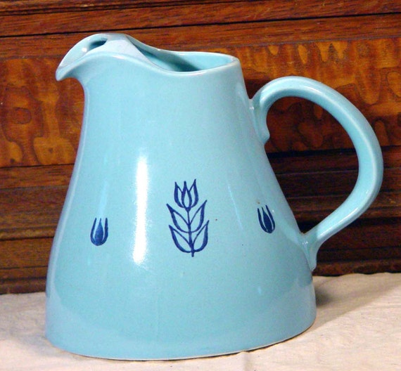Cronin Pottery Blue Tulip Juice Pitcher 1960s Vintage Tableware