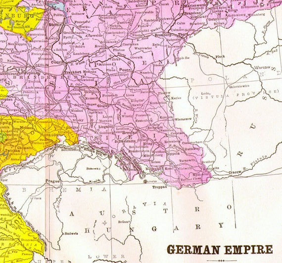 German Empire Map Vintage Copper Engraving European Cartography 1892 Victorian Geography Art To Frame