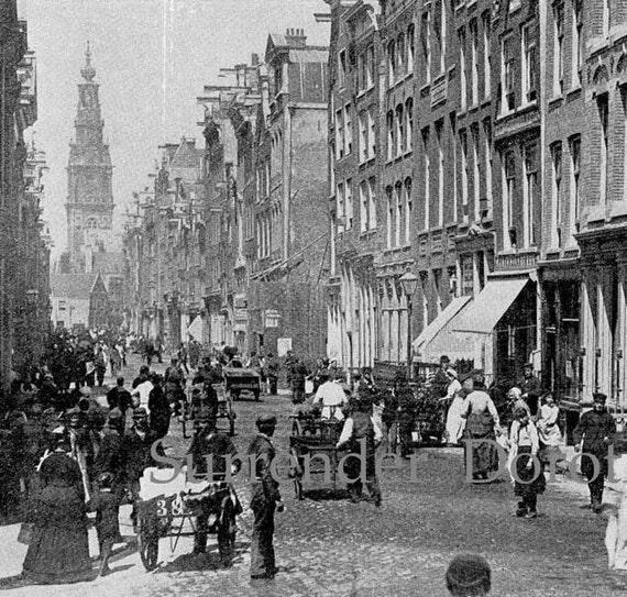 St. Antoine Street Amsterdam Holland 1890 Vintage Architecture Victorian Rotogravure Illustration To Frame