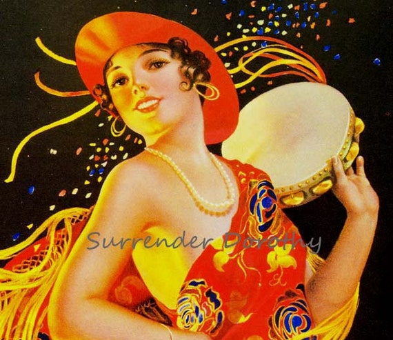 Masquerade Party Girl Gene Pressler 1930s Pinup Girl Vintage Man-Cave Poster Print To Frame