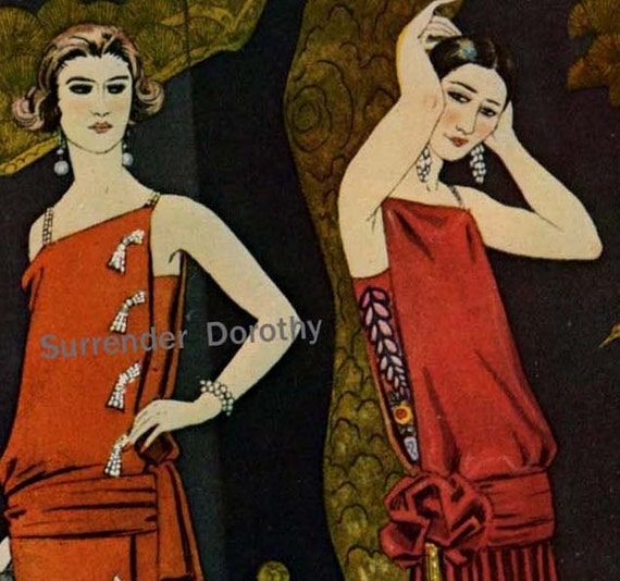 Vintage Flapper Fashion Studies In Red France Belle Epoque Era Roaring Twenties Lithograph To Frame