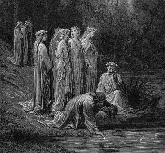 Dante Drinks River Eunoë Purgatory Gustave Dore'  Canto 33 Vintage Engraving Purgatory Limbo