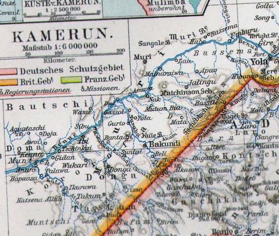 Cameroon Africa Map Vintage Edwadian Era 1906 Antique Steel Engraved Cartography To Frame