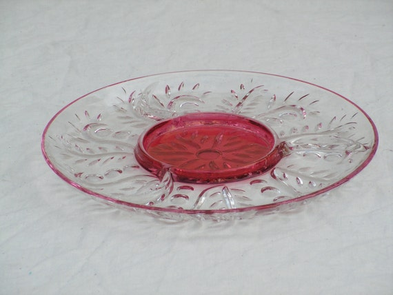 Ruby Glass Serving Platter 1950s Vintage Hostess Party Tray and Kitchen Ware 12 Inches