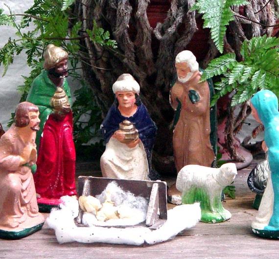 Chalkware Nativity Set 1960s Vintage Christmas Home Decor Mid Century Holy Family