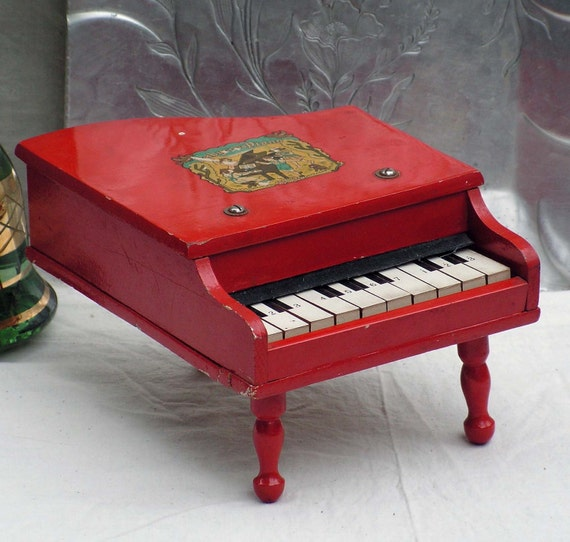 Red Baby Grand Piano Vintage Wooden Toy Home By