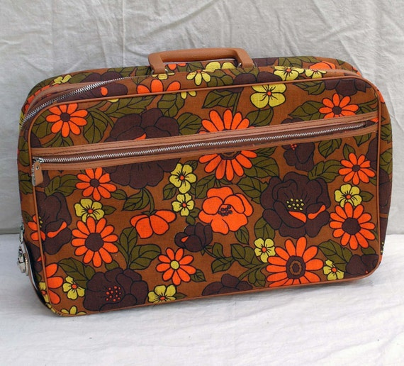 Flower Power Overnight Suitcase Laptop Case Orange Avocado Yellow Brown Lined Canvas Luggage Weekender 1960s